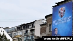Serbia -- The campaign of right wing political parties on billboards for the parliamentary elections in Serbia, 25 February 2014