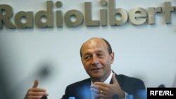 Romanian President Traian Basescu at RFE/RL's headquarters