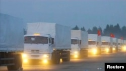 A Russian convoy of trucks said to be carrying humanitarian aid for Ukraine sets off from near Moscow on August 12.