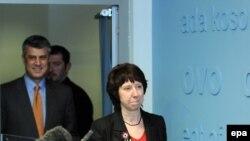 Catherin Ashton i kosovski premijer Hašim Tači