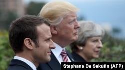 ترزا می، دونالد ترامپ و امانوئل مکرون رهبران بریتانیا، آمریکا و فرانسه