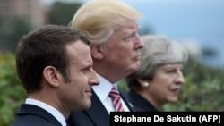 از راست: می، ترامپ، مکرون، رهبران بریتانیا، آمریکا و فرانسه در دیداری ماه مه ۲۰۱۷