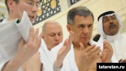 "Tatar President Rustam Minnikhanov prays during his ""minor hajj"" in Mecca."