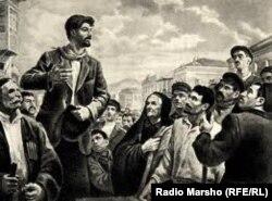 Молодой Сталин – пропагандист среди рабочих. Картина 1940-х годов