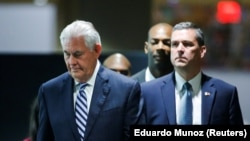 U.S. Secretary of State Rex Tillerson (left) exiting after a meeting of the parties to the Iran nuclear deal during the UN General Assembly in New York in September.