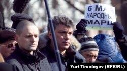 Сергей Удальцов и Борис Немцов на улицах Москвы. 24 марта 2012 г