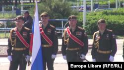 Soldați ruși la repetiția paradei militare din Tiraspol, 7 mai