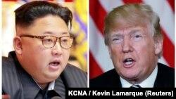 АҚШ президенті Дональд Трамп (оң жақта) пен Солтүстік Корея лидері Ким Чен Ынның фотоларынан коллаж.