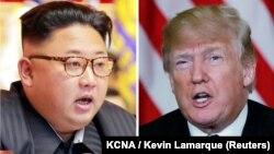 Солтүстік Корея басшысы Ким Чен Ын мен АҚШ президенті Дональд Трамп.
