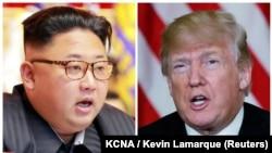 Liderul nord-coreean Kim Jong Un (stînga) și președintele Donald Trump