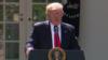 Президент США Дональд Трамп во время выступления на территории Белого дома, когда он заявил о выходе Соединенных Штатов из Парижского соглашения. Вашингтон, 1 июня 2017 года.
