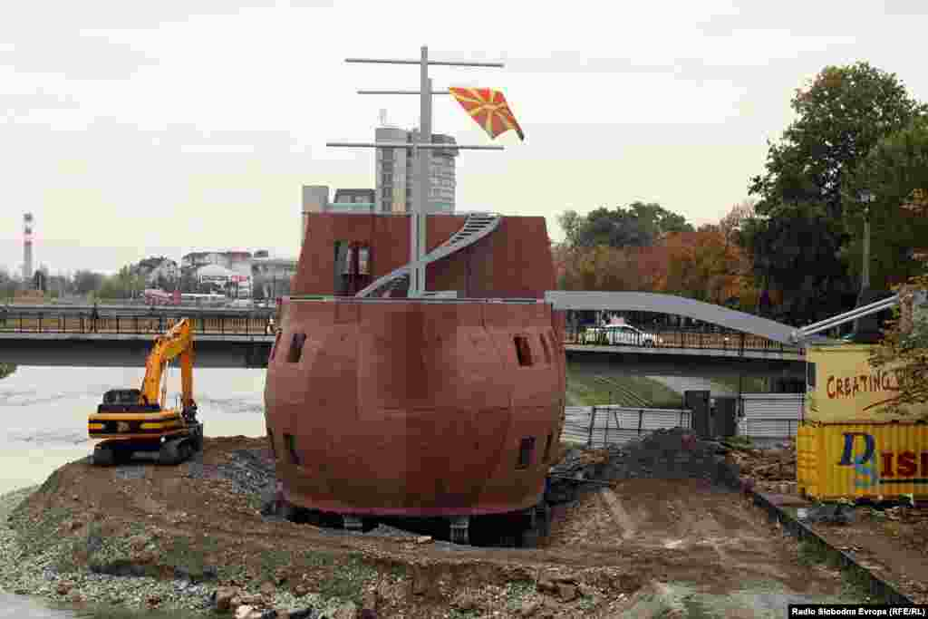 One of two structures in the shape of a galley ship on the banks of the Vardar River. Macedonia's government has said that the cost of the Skopje 2014 project is 208 million euros, but the political opposition claims that the real cost could be close to twice the official figure.
