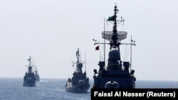 Saudi warships are seen during during exercises by members of Royal Saudi Navy, east of Saudi Arabia, October 9, 2016