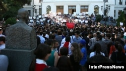 Georgians rally to protest prison abuse in Tbilisi on September 24