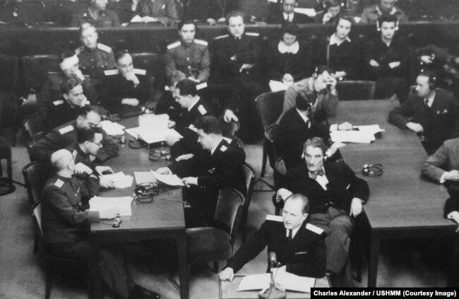 Главный обвинитель от СССР Роман Андреевич Руденко выступает на Нюрнбергском процессе
