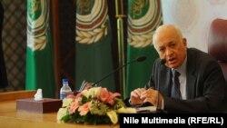 أمين عام جامعة الدول العربية نبيل العربي يتحدث في مؤتمر صحافي عن نتائج مؤتمر (جنيف 2)