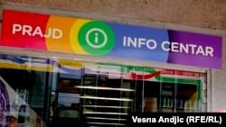 Ulaz u prostorije Prajd info centra u Beogradu, ilustracija
