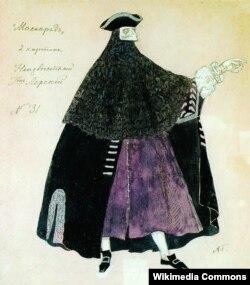 Александр Головин. Неизвестный. Эскиз костюма к спектаклю «Маскарад». 1917
