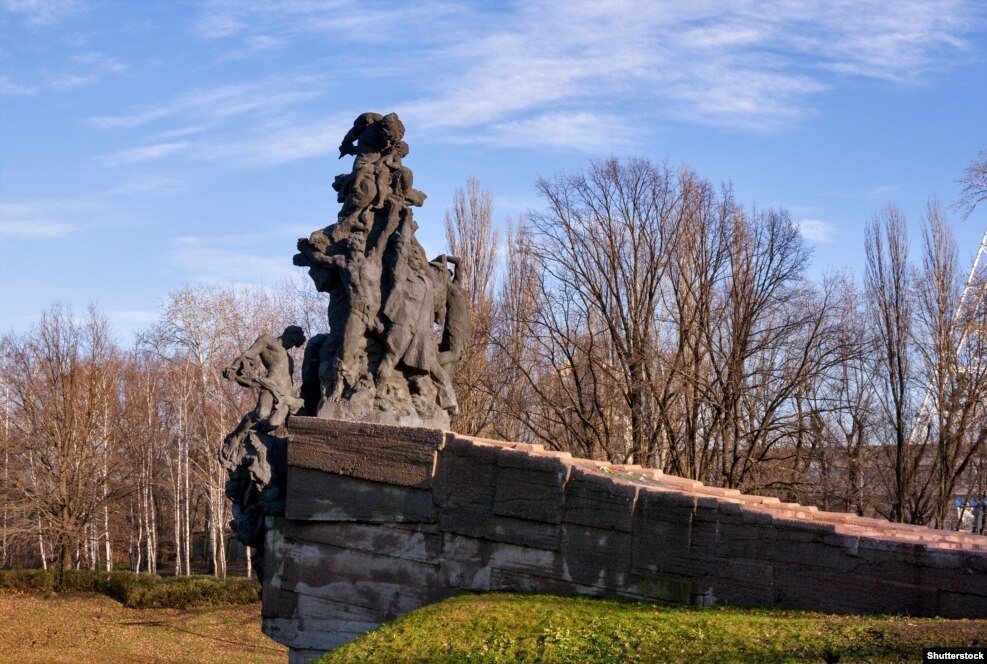 For more than three decades after the war, the events at Babi Yar receive little official recognition, although in the 1960s Jewish activists began gathering without permission at the site to keep the memory of what happened there alive. In 1976, this memorial commemorating all victims of the Nazi regime at Babi Yar was erected, without making specific mention of the Jewish victims. The central figure of the monument is a Soviet soldier.