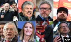 The eight candidates running in Russia's March 18 presidential election.