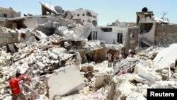 Разрушенные здания города Алеппо