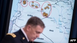 """Lieutenant General William Mayville briefs reporters on U.S.-led air strikes in Syria. Mayville says the Khorasan Group is """"establishing roots in Syria in order to advance attacks against the West."""""""