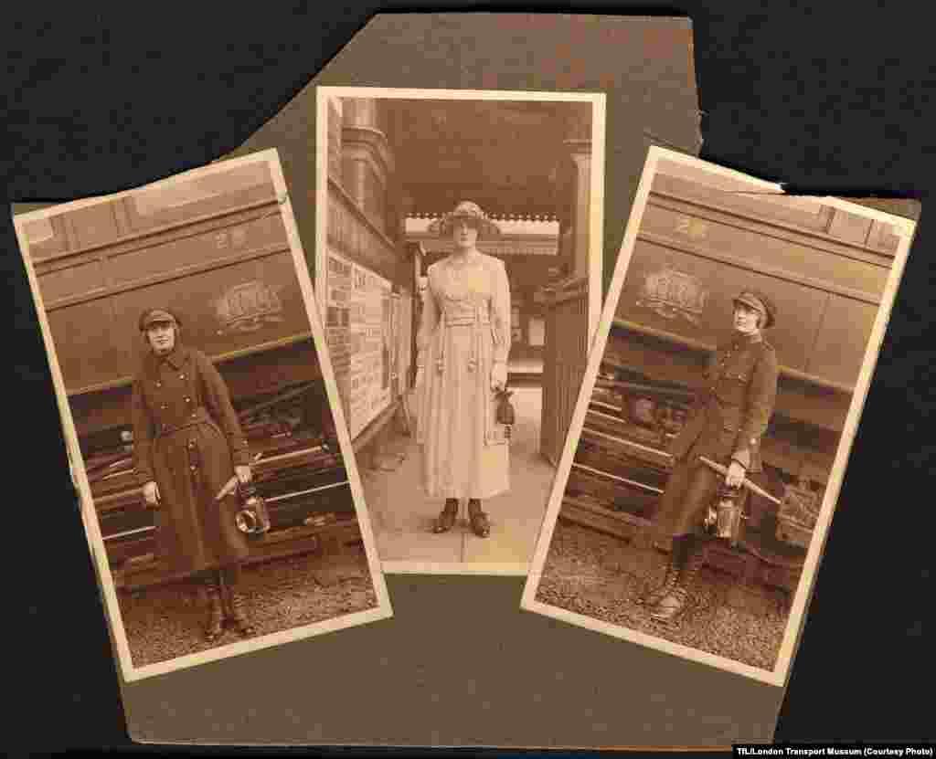 A Metropolitan Railway guard, Eva Carver, poses in her guard's uniform (left and right).