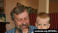 Jailed former presidential candidate Andrey Sannikau with his son Danik, whom he hasn't seen in five months.