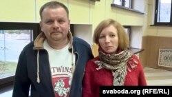 Сяржук Фалейчык і актывістка зь Берасьця Натальля Папкова, якая прыехала падтрымаць яго ў судзе