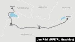 Türkmenistan-Owganystan-Täjigistan demirýolunyň göz öňünde tutulýan proýekti