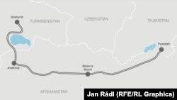 Türkmenistan-Owganystan-Täjigistan demirýolunyň göz öňünde tutulýan proýekti.