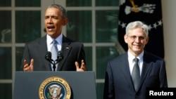 Barack Obama sa sudijom Merrickom Garlandom u dvorištu Bijele kuće 16. mart 2016 .