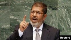 Египет президенті Мұхаммед Мурси БҰҰ бас ассамблеясының сессиясында. Нью-Йорк, 26 қыркүйек 2012 жыл.