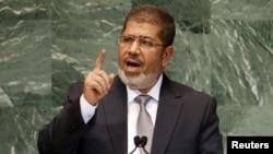 Египет президенті Мұхаммед Мурси БҰҰ мінберінде сөйлеп тұр. Нью-Йорк, 26 қыркүйек 2012 жыл.