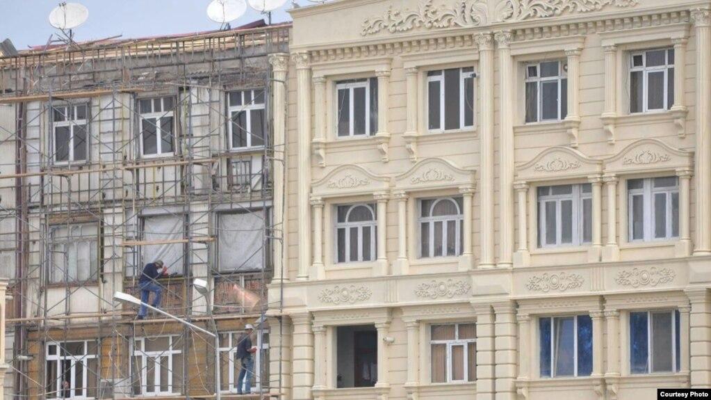 Khachmaz building covered foam (penoplast) plastic covering. Azerbaijan. may2017