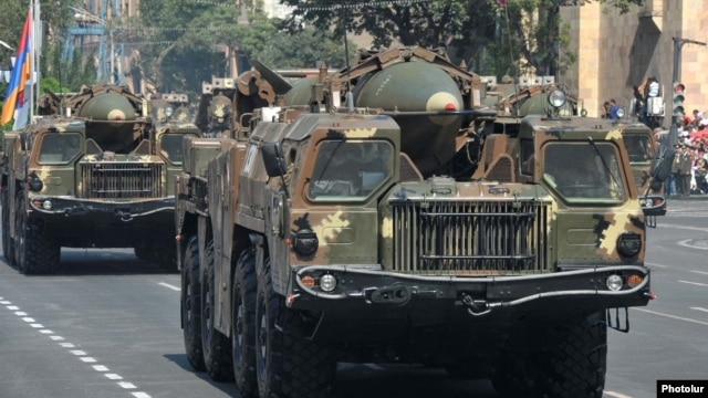 Armenia - 9K72 (Scud-B) ballistic missiles are demonstrated during a military parade in Yerevan, 21Sep2011.