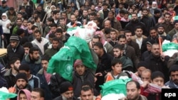 Hamas supporters at a funeral in the Gaza Strip in January