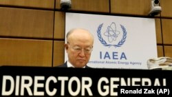 IAEA chief Yukiya Amano waits for the start of the board of governors meeting at the International Center in Vienna on June 4.