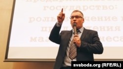 Анатоль Шумчанка падчас другога форуму прадпрымальнікаў у Менску, 1 лютага 2016 году