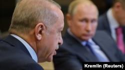 Володимир Путін і Реджеп Таїп Ердоган на переговорах у Сочі, Росія, 22 жовтня 2019 року