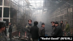 "Tajikistan -- Fire in a big market of Qurghonteppa city, ""Farovon"", 13Mar2012"