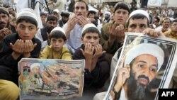Susținători ai partidului extremist pakistanez Jamiat Ulema-i-Islam-Nazaryati (JUI-N) purtînd portrete ale lui Osama bin Laden la o demonstrație anti-americană la Quetta, în 2012