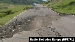 Macedonia - Landslide on the road tnear the village Shtavica - May2015