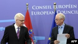 Predsjednik Hrvatske Ivo Josipović i Evropskog savjeta Herman Van Rompej