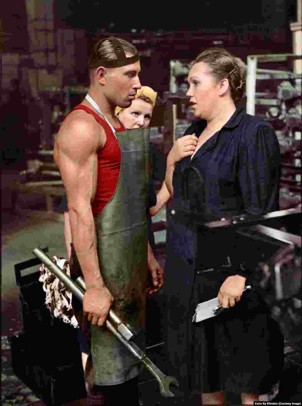 A worker and his supervisor at a Moscow car factory, 1954.