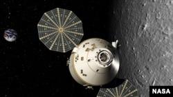 Пилотируемый космический челнок Orion на лунной орбите. Реконструкция Lockheed Martin Corp.