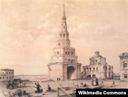 Башня на гравюре Э.Турнерелли начала XIX в.