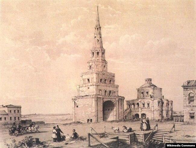 Сөембикә манарасы, Эдуард Турнерелли литографиясе, 1839 ел