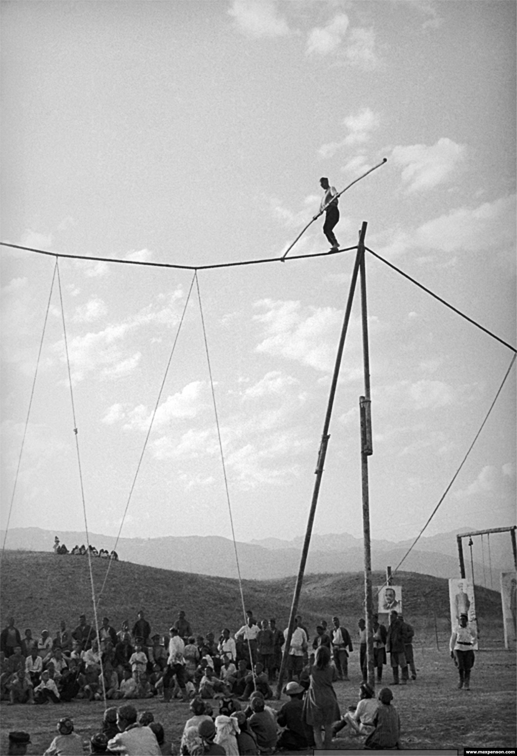 A high-stakes tightrope walker in the 1940s.