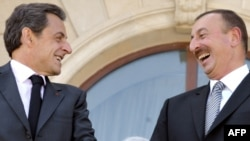 French President Nicolas Sarkozy (right) met with his Azerbaijani counterpart Ilham Aliyev (left) on a visit to Baku in October.